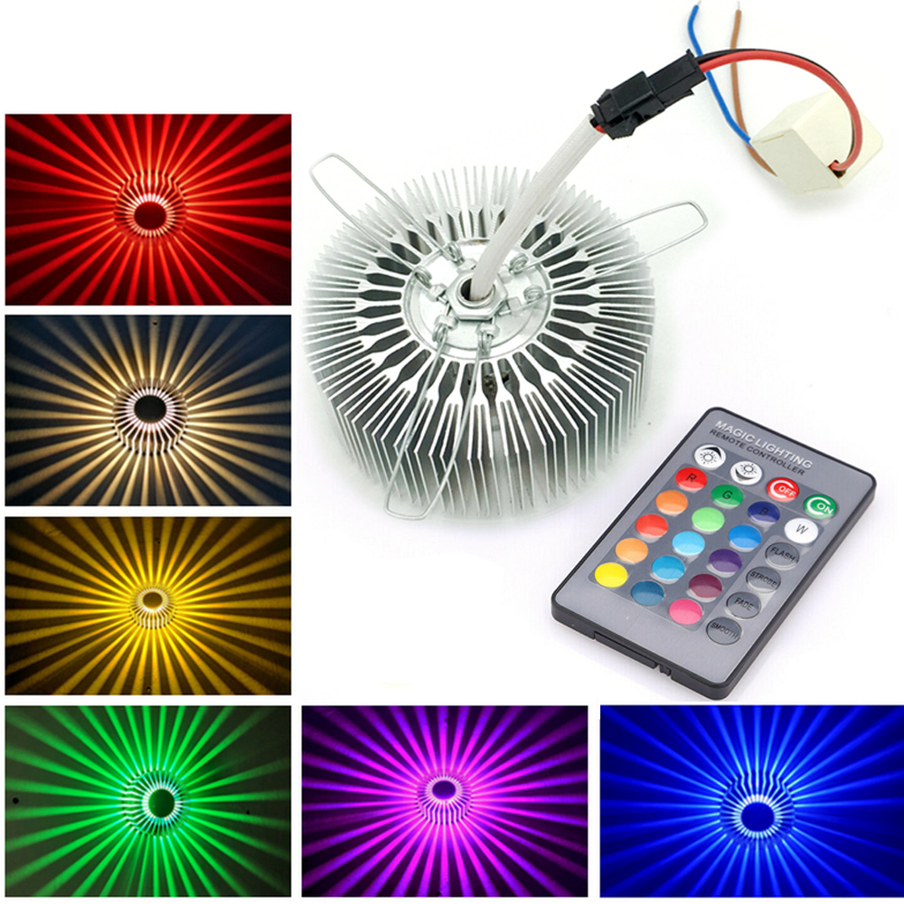 3W LED Wall Lamp Sunflower RGB Effect Light Remote Control AC100-265V LED Wall Sconce Colorful Yellow/Blue/Red Indoor Lighting
