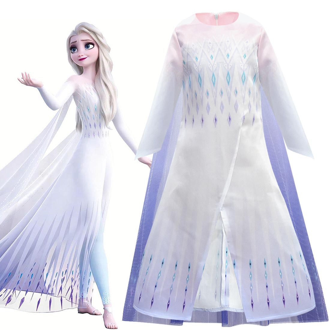 <font><b>Frozen</b></font> <font><b>2</b></font> <font><b>Anna</b></font> Elsa <font><b>2</b></font> Princess Costumes Cosplay For Kids Princess Dresses for Girls <font><b>Wig</b></font>/Crown Vestidos Children Girls Elsa Dress image