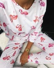 цена на Women Fashion Pajama Sets Homewear Casual Two Pieces Set  Suit SetsLong Sleeve Print Top & Pants Set