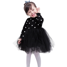 Autumn Dress for Toddler Baby Girls Cute Princess Dress Long Sleeve Polka Dots Dress Knitted Tulle Wedding Pageant Party Dresses цена