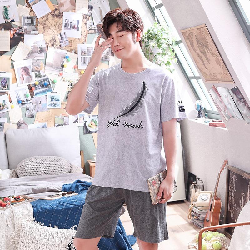 New Men's Pajamas Set 2020 Summer Loose Leisure Men Sleepwear Cotton Men's Short Sleeve Loungewear Suit Fashion Tracksuit