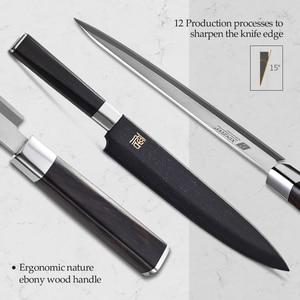 Image 3 - XINZUO 240/270/300 مللي متر السوشي سكين مع غطاء Scabbard X9Cr18MoV الصلب المطبخ السكاكين الساطور الساشيمي سكين خشب الأبنوس مقبض