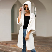 Women Sweater Cardigan Hooded White Winter Fashion Loose Pink Long Sleeve Knitted Streetwear