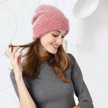 2020 Women knitted Winter Hat female Warm Rabbit fluff beanie Girl Solid Bonnet femme Skullies beanies Soft Hats Winter Caps