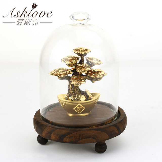 Feng Shui Fortune tree Gold Foil Money Tree Bonsai Office Tabletop Lucky Wealth Ornaments Gifts Home Decoration with Gifts box 3