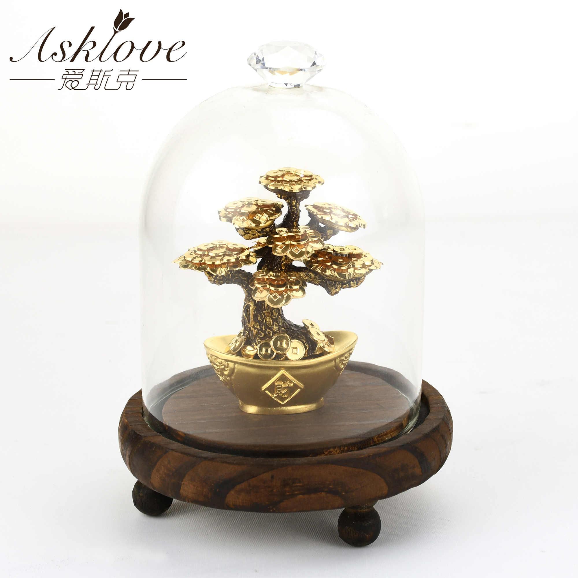 Feng Shui Fortune arbre feuille d'or argent arbre bonsaï bureau table chanceux richesse ornements cadeaux décoration de la maison avec boîte de cadeaux