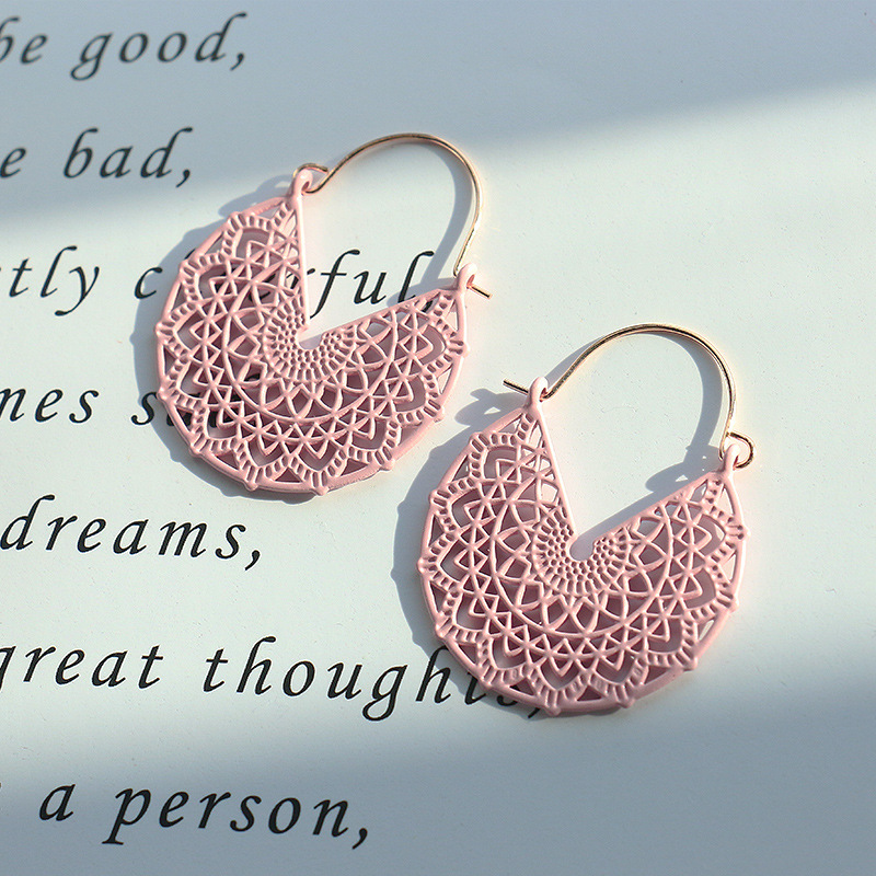 Ethnic Summer Hollow Pink Earrings Flower Boho Jewelry For Women Korean Retro Corful Copper Dangle Earrings Bijoux