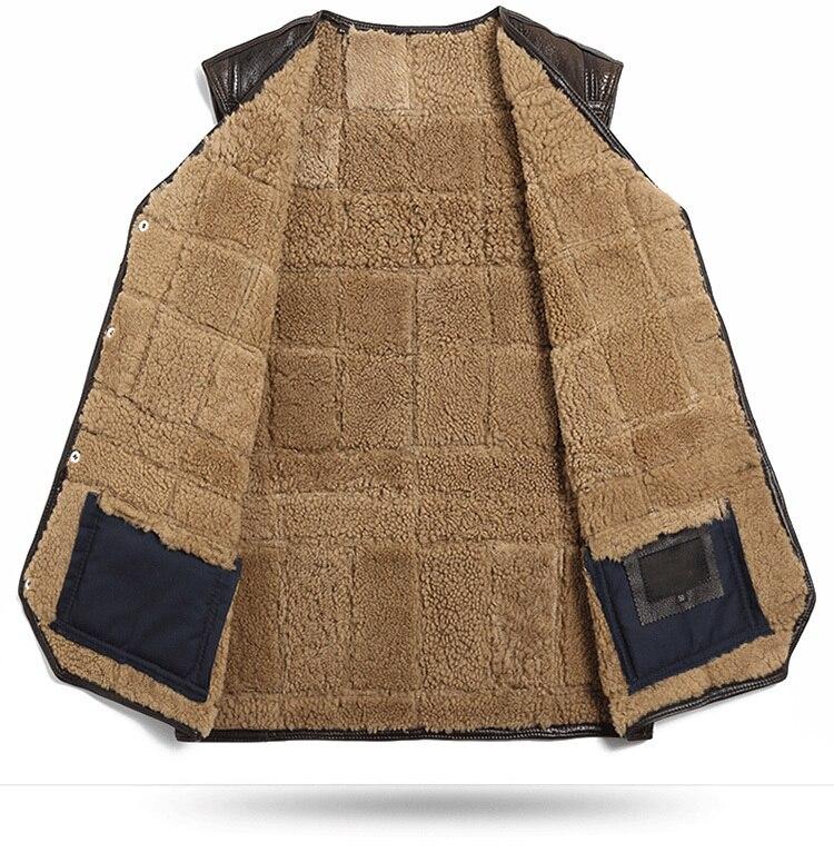 Genuine Leather Vest Men 100%Wool Fur Liner Short Coat Winter Jacket Sheepskin Vests Plus Size Chalecos Para Hombre 202 MY1584