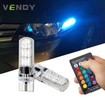 2x T10 W5W 168 194 Car RGB Side Light Flashing Bulb+Remote Controller ( No Battery) For renault duster clio logan fluence twingo image