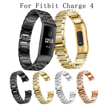 For Fitbit charge 4 full drill Strap Aluminum Alloy Metal fashion/Classic SmartWatch Wristband acceory
