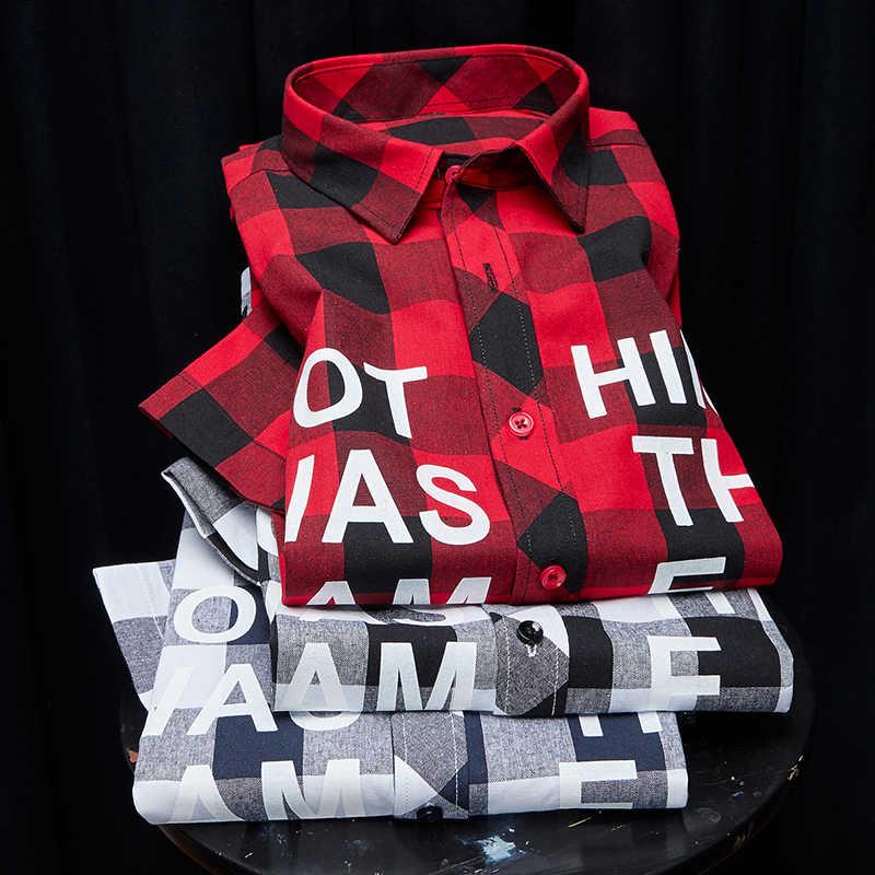 Camisa de cuadros rojo y negro camisas de hombre camisa de moda de verano nuevo Chemise Homme camisas a cuadros camisa de manga corta hombres blusa 2020