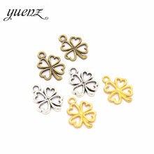 Yuenz 4 cores 35 pçs antigo prata cor encantos sorte quatro folha trevo fazer pingente caber diy artesanal jóias 17*13mm q401
