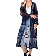 Women High Quality Print Flower Lace Cardigan Long Sleeve Beach Open Kimono Blouses Tops