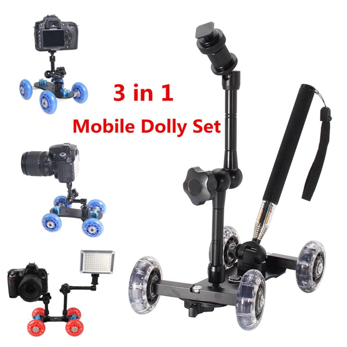 Mesa de la cámara de vídeo ruedas material rodante ferroviario pista deslizante Dolly coche deslizamiento de estabilizador Skater sistema ferroviario Estudio de foto Accesorios