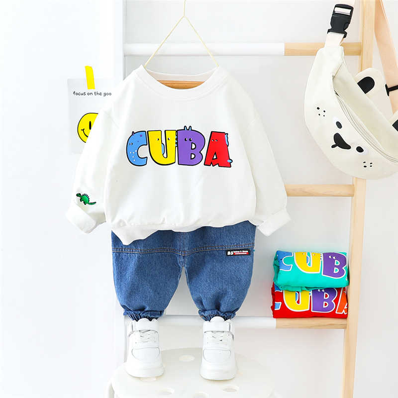 HYLKIDHUOSE 2020 Spring Baby Boys Girls Clothing Sets Toddler Infant Long Sleeve T Shirt Pants Baby Girls Boys Vacation Costume
