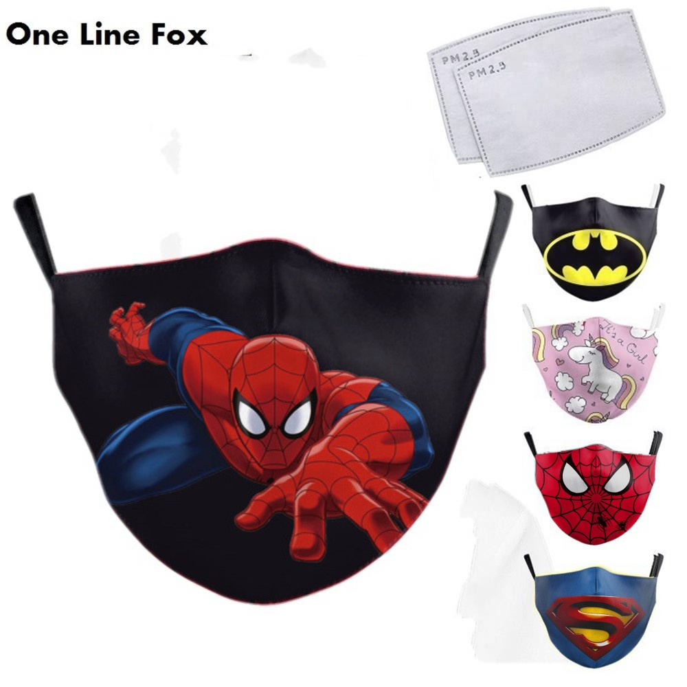OneLineFox Cartoon Superhero Spiderman Superman Captain America Kids Mask Print Face Masks Reusable Children Fabric Dust Masks