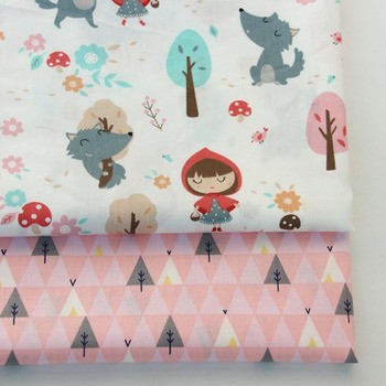 2PCS Dinosaur, Fox Cartoon Twill Printed 100% Cotton Fabric For Baby Sewing Quilting Fat Quarters Child DIY Patchwork Fabric 5