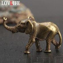 LLavero de elefante de latón antiguo colgante adornos pequeños Retro mesa de cobre hecha a mano decoración de escritorio baratija accesorios DIY