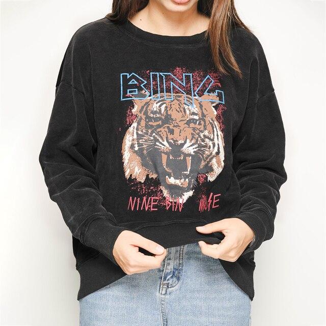 Black Tiger Head Graphic Boho Sweatshirt Women Autumn Winter Long Sleeve O Neck 100% Cotton Pullover Casual Vintage Hoodies 2020 2