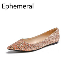 Females Sequined Cloth patchwork shoes for ladies flat loafers women Bling slip on casual max size 10 12 14 Pointy Toe Purpole