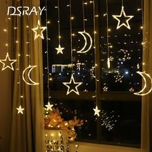 «Луна», «Звезды» Led Шторы осветительная лента Рождественский светильник s украшения праздничный светильник s Шторы лампа Свадебные неоновые Фонари 220 В светодиодная гирлянда светильник