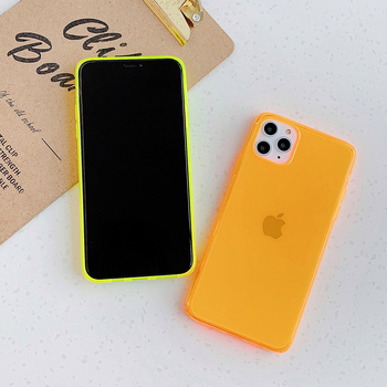 LOVECOM Néon Fluorescent Couleur Unie Pour iPhone 11 Pro Max XR X XS Max 7 8 Plus Étui Souple IMD Clair Téléphone Couverture Arrière 2