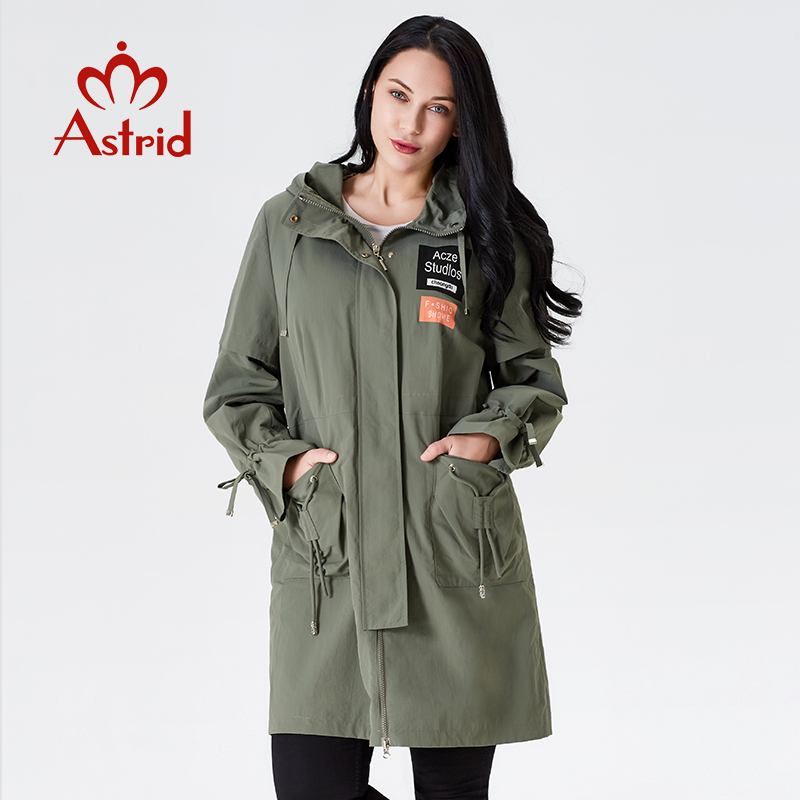 2019   trench   coat spring female   trench   clothes Classic women Hooded Solid color Fashion femme Ukraine ladies new astrid AS-7015