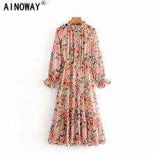Vintage chic kobiety kwiatowy Print skrzydła plisowany szyfon sukienki damskie z długim rękawem dekolt sznurowane boho Maxi sukienka vestidos