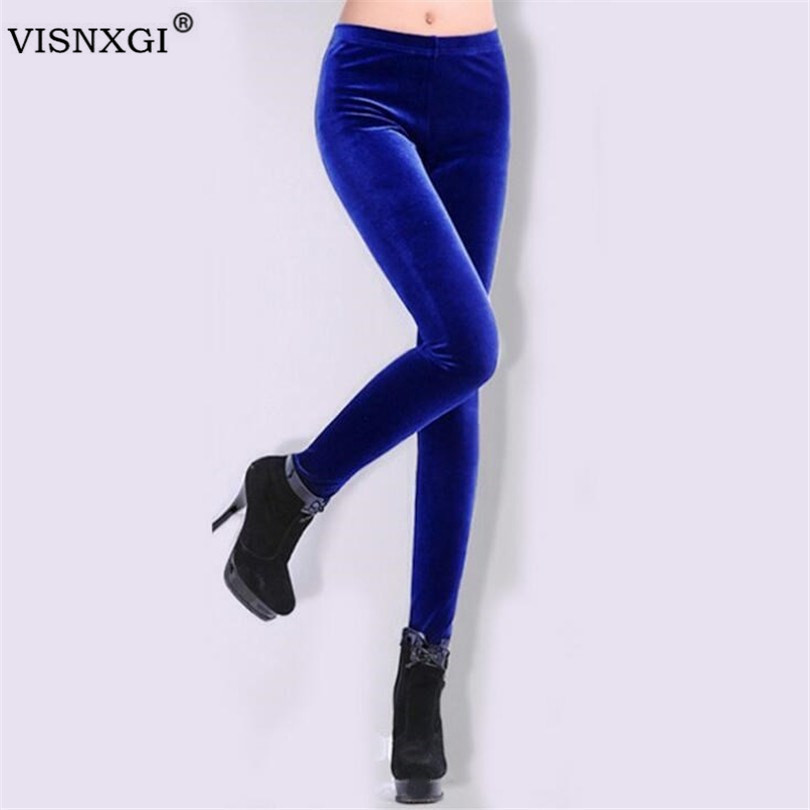 VISNXGI 2020 Spring Summer Knitting Gold Velvet Leggings Slim Women Casual Leggings Elastic Pencil Pants Ankle-Length Legging