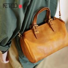 AETOO New retro art portable handbags leather wild Messenger bag cylinder mini