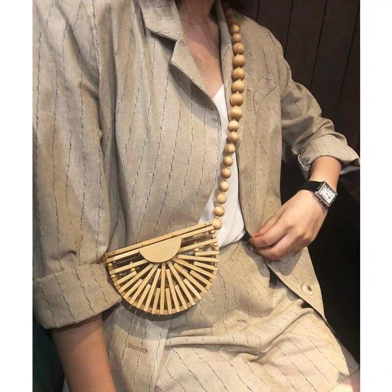 Women's Fashion Hollow Bamboo Handbag Shoulder Bag Lady Summer Bohemian Beach Bag Small Handbag Messenger Bag Wallet