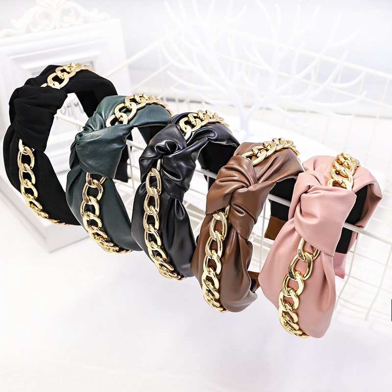 2019 Korea Fashion Leather Hairband Knot Headband Lady Girls Hair Hoop Bands Accessories For Women Hair Headdress
