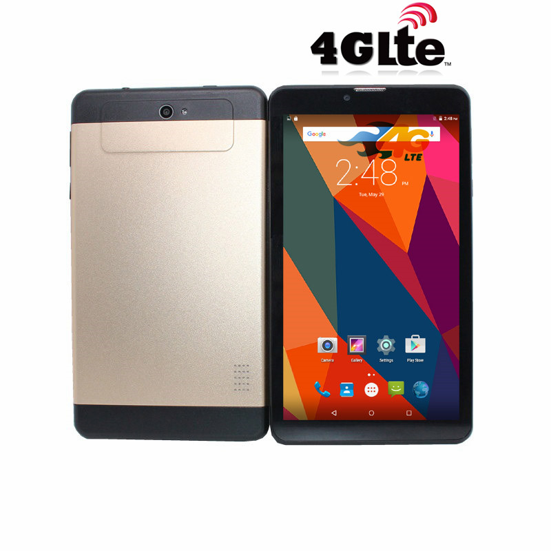 HD IPS Sreen GPS 7inch 4G-Lte Phone Call MTK6735  TabletPC Android 5.1 1GB+8GB Quad Core 1024x 600 Gold Tablet