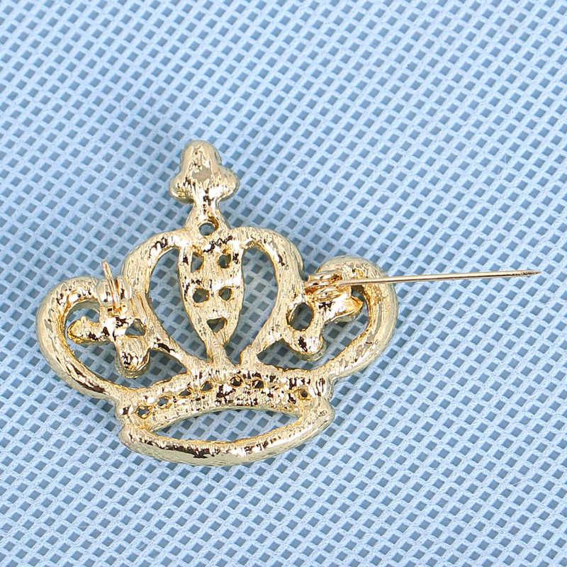 Mulia Klasik Pria Kepribadian Golden Big Crown Bros Pin untuk Wanita Busana Pesta Pernikahan Bros Accessoris