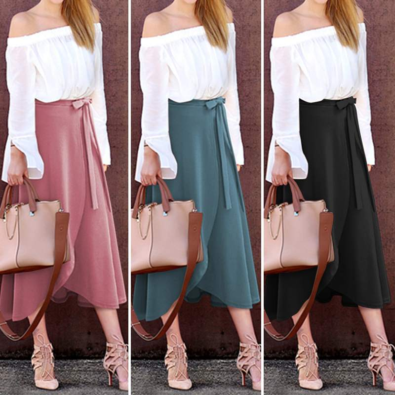 Women's Midi Vestidos ZANZEA 2020 Women Irregular Hem Stylish Skirts High Waist Split Lace-Up Midi Skirts Female Casual Faldes