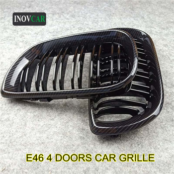 New Glossy Black/ M Color Carbon Look Front Hood Grille For 3 Series E46 4 Doors ABS Dual Line Replacement Bumper 2002-2004