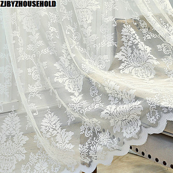 White Tulle Curtains for Living Room European-Style Window Mesh Yarn Sheer Window Curtains for Bedroom Girl Lace Princess Drapes princess style 100% cotton curtains elegant white lace curtains sheer tulles for girl s room window door sheet screen home decor
