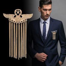 Broche de Metal de cinco Ala Estelar para hombre, insignia de borla, alfileres y broches de lujo para traje, camisa, Collar, ropa, accesorios de joyería, nuevo