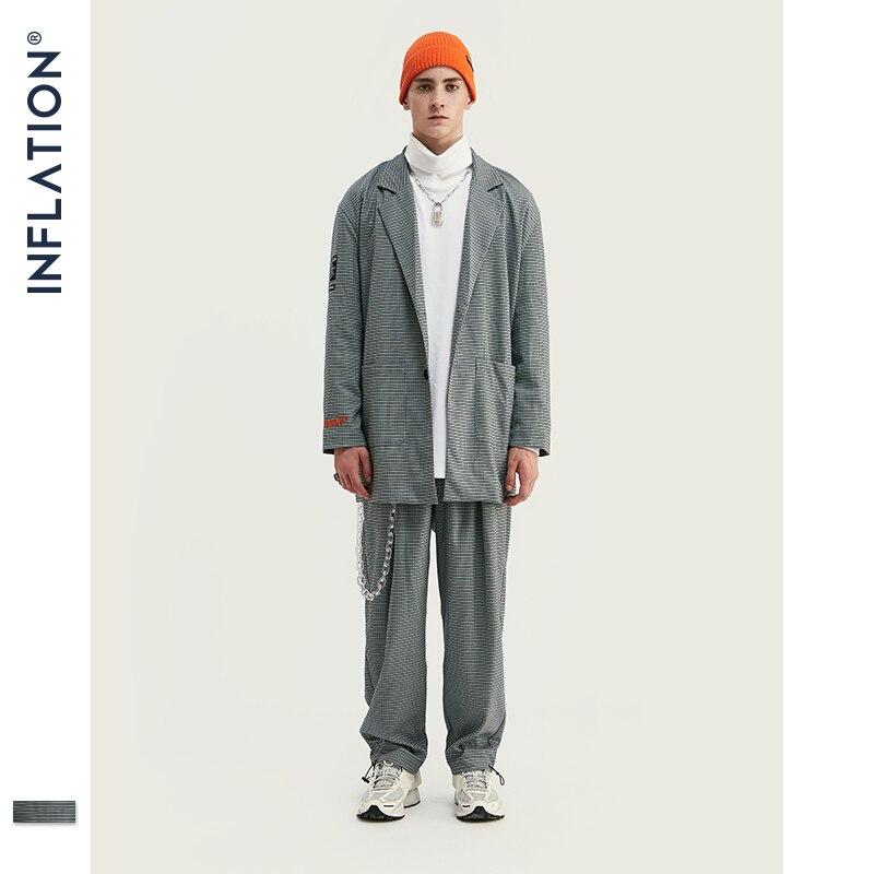INFLAÇÃO New Arrival Homens Blazer Solto Fit Moda Streetwear de Luxo Homens Terno Cinza Verificar Terno Masculino Blazers Homens Streetwear