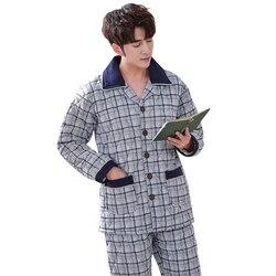 Winter Men Three Layers Quilted Pyjamas Thick Cotton Sleepwear Plus Size XXXL Stitching Pajamas Male Warm Loungewear #No static#