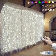 3M x 3M 9 Colori Luci Di Natale Romantico Decorazione di Cerimonia Nuziale Della Tenda Esterna Ghirlanda Luce Della Stringa Remote control 8 modalità Lampada USB