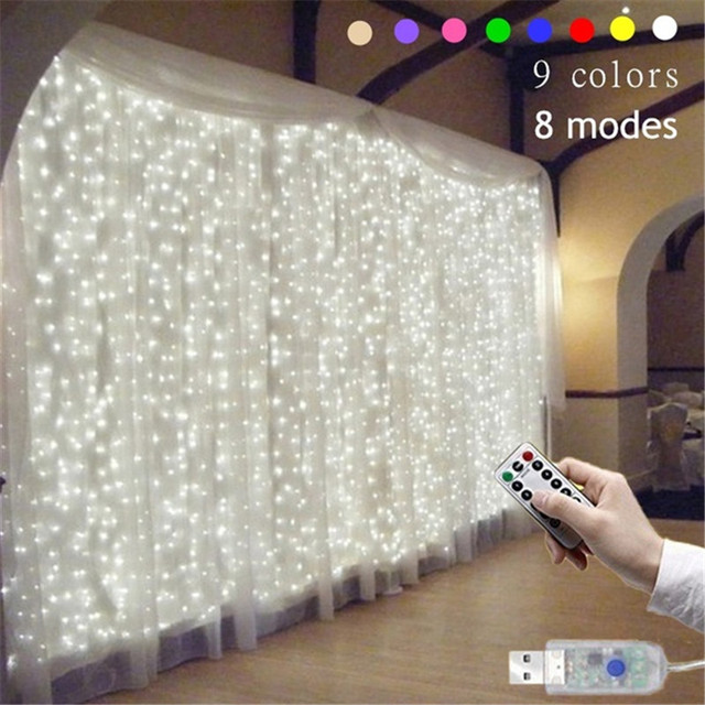 3Mx3M 9 Colors Lights Romantic Christmas Wedding Decoration Outdoor Curtain Garland String Light Remote control 8 modes USB Lamp
