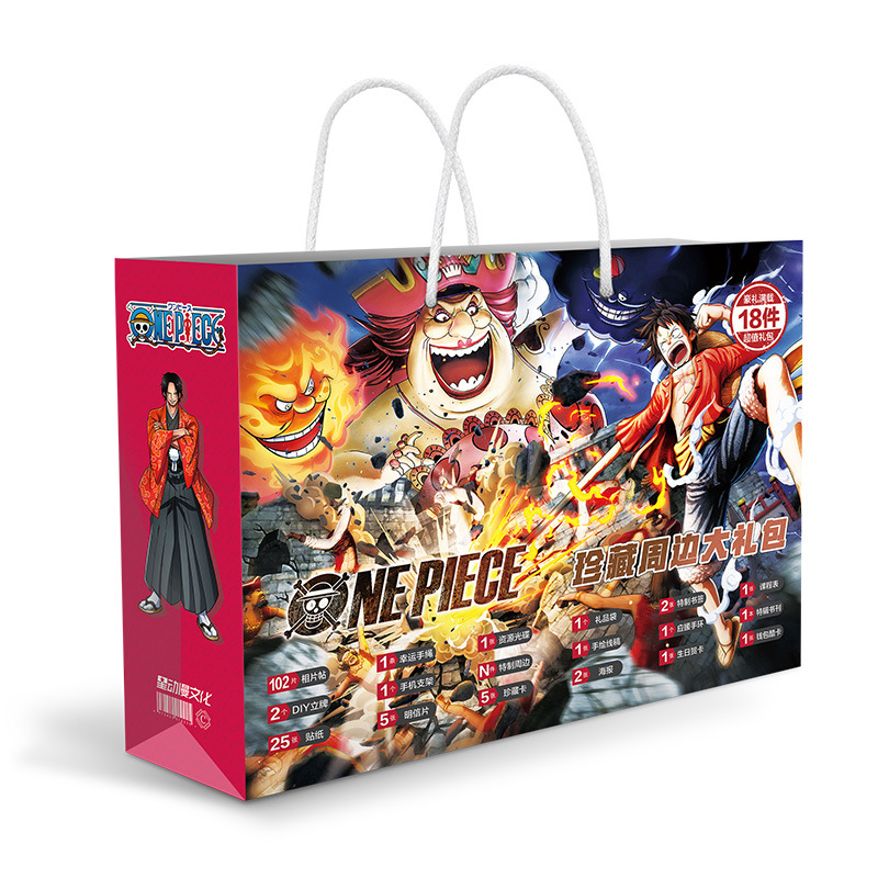 Anime ONE PIECE Gift Bag Luffy Figure Poster Stickers Postcards Wristband Badge Bracelet Bookmark Card Sleeves Coloring Book