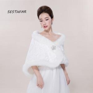 Image 1 - Bridal Shawl Jacket Wedding Wraps White Long Faux Fur Wrap Shrug Bolero Coat  Bridal Gowns PJ012