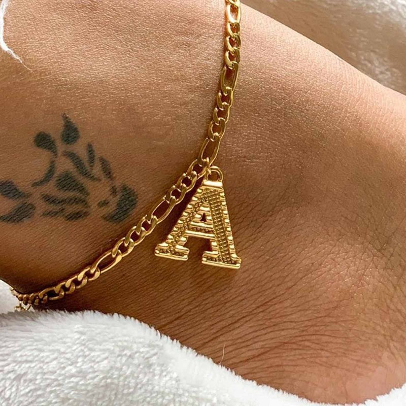 Fashion Crystal Letter Anklets Bracelet for Women An Alphabet Anklets Female Gold Color Leg Foot Chain Boho Jewelry Gift