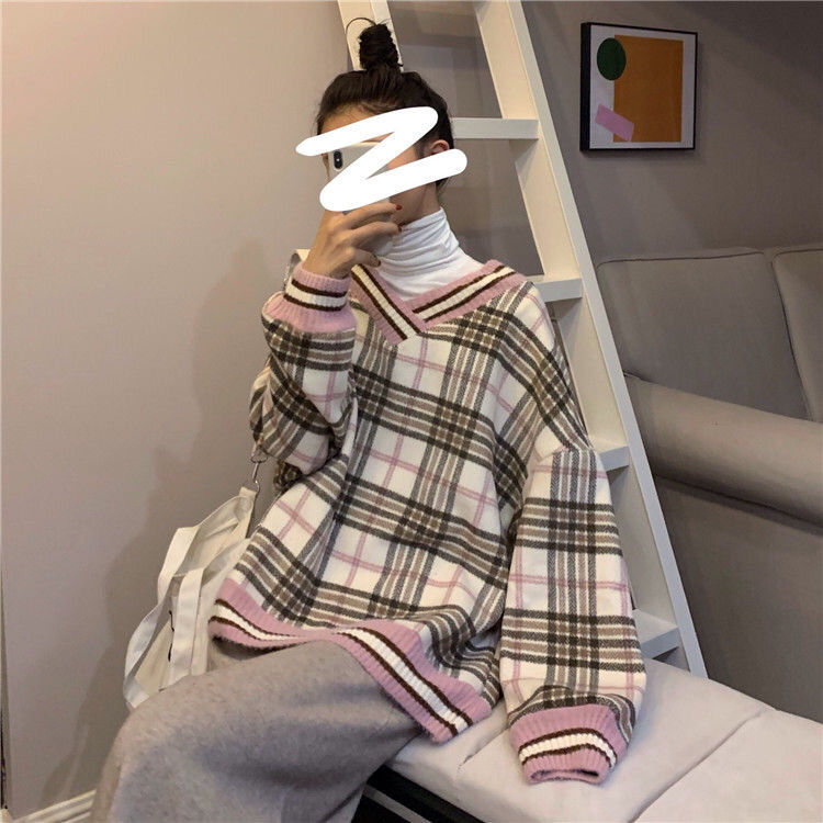 Women plaid hoodies pring winter new style slim fit casual hooded  sweatshirt pink and blue fashion Plaid Pirnted Cotton Hooded 7