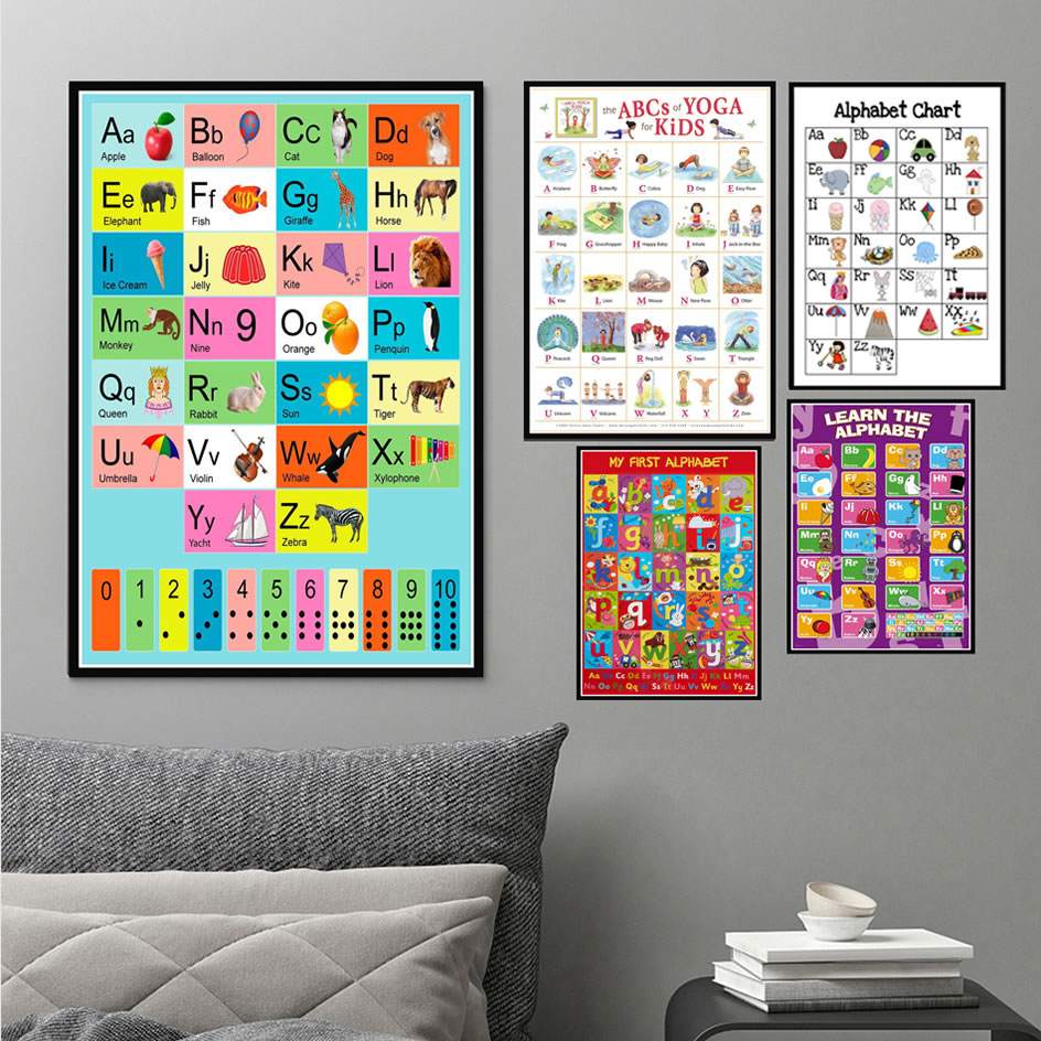 Poster And Prints Abc Alphabet Kids Children Animal English Learning Anime Art Painting Wall Pictures For Living Room Home Decor image
