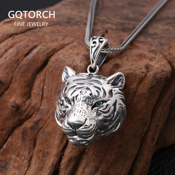 Real Pure Sterling Silver 925 Tiger Pendant For Men Cool Punk Rock Pendants Personalized Viking Jewelry