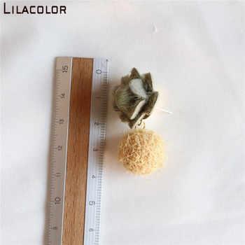 Lilacolor S925 Silver Pins Autumn Winter Women Drop Earrings Flower Ball Sweet Cute Dangle Earrings for Party New Year Gifts