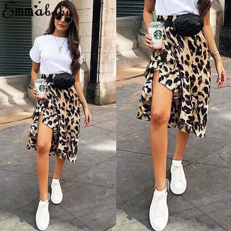 Fashion Women Ruffle Leopard Skirt High Waist Jupe Femme
